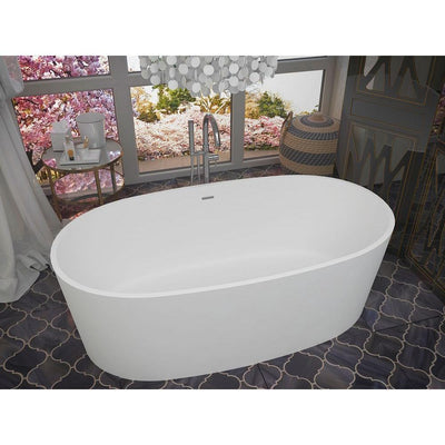 ANZZI Roccia Series FT-AZ505 5.1 ft. Man-Made Stone Center Drain Freestanding Bathtub in Matte White