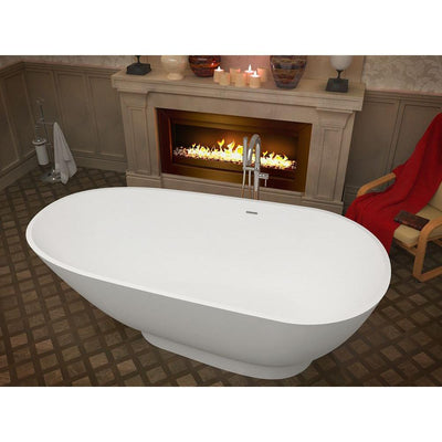 ANZZI Volo Series 5.9 ft. Man-Made Stone Classic Freestanding Flatbottom Non-Whirlpool Bathtub in Matte White with Freestanding Faucet