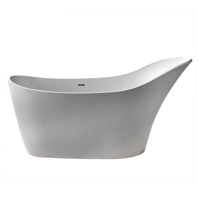 ANZZI Alto Series FT-AZ507 5.6 ft. Man-Made Stone Center Drain Freestanding Bathtub in Matte White