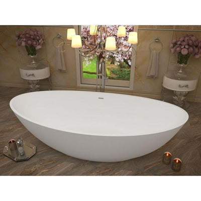 ANZZI Ala Series FT-AZ508 6.2 ft. Man-Made Stone Center Drain Freestanding Bathtub in Matte White