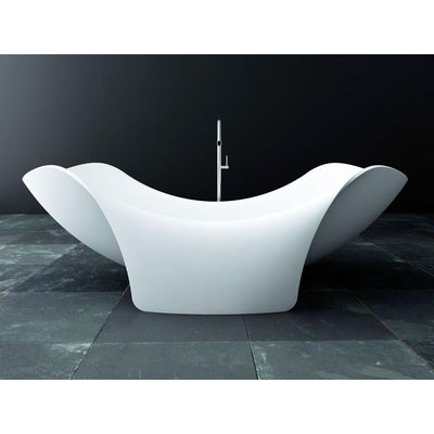 ANZZI Cielo Series FT-AZ512 6.5 ft. Man-Made Stone Center Drain Freestanding Bathtub in Matte White