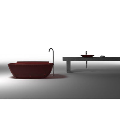 ANZZI Vida Series 5.2 ft. Man-Made Stone Center Drain Freestanding Bathtub