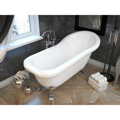 ANZZI Pegasus Series FT-AZ902b 5.5 ft. Acrylic Freestanding Clawfoot Non-Whirlpool Bathtub in White