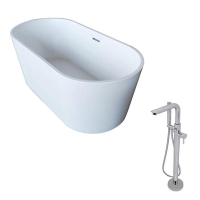 ANZZI Dover Series 5.6 ft. Acrylic Classic Freestanding Flatbottom Non-Whirlpool Bathtub in White with Freestanding Faucet