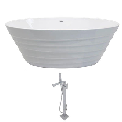 ANZZI Nimbus Series 5.6 ft. Acrylic Classic Freestanding Flatbottom Non-Whirlpool Bathtub in White with Freestanding Faucet