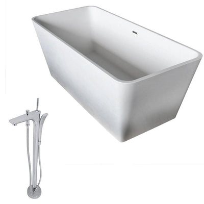 ANZZI Cenere Series 4.9 ft. Man-Made Stone Classic Freestanding Flatbottom Non-Whirlpool Bathtub in Matte White with Freestanding Faucet