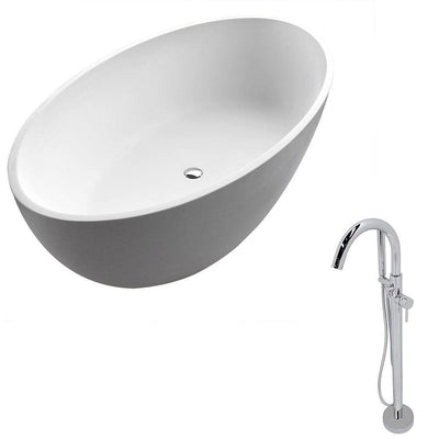ANZZI Cestino Series 5.5 ft. Man-Made Stone Classic Freestanding Flatbottom Non-Whirlpool Bathtub in Matte White with Freestanding Faucet