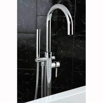 Kingston Brass KS815 Concord Floor Mount Tub Filler with Hand Shower - Affordable Cheap Freestanding Clawfoot Bathtubs Tub