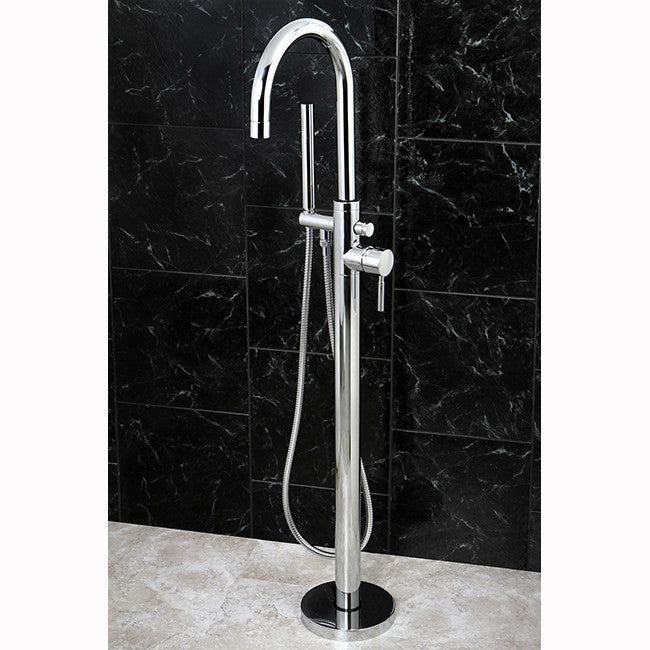 Kingston Brass KS815 Concord Floor Mount Tub Filler With Hand Shower    Affordable Cheap Freestanding Clawfoot