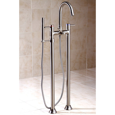 Kingston Brass KS835 Concord Floor Mount Tub Filler with Hand Shower - Affordable Cheap Freestanding Clawfoot Bathtubs Tub