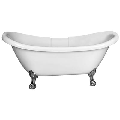 Barclay Meryl 63″ Acrylic Double Slipper Freestanding Tub – No Faucet Holes with Tap Deck Brushed Nickel Finish Front View in White Background