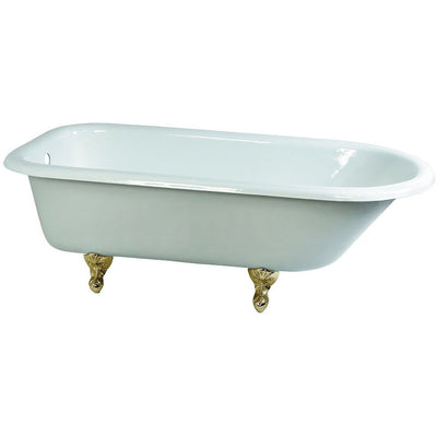 "Kingston Brass Aqua Eden 66"" Cast Iron Roll Top Bathtub Freestanding Clawfoot Bathtubs Polished Brass Front View White Background"