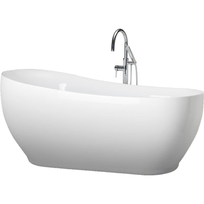 "A & E Bath and Shower Oslo Acrylic 71"" All-in-One Oval Freestanding Tub Kit Freestanding Clawfoot Bathtubs Tub Front View White Background"