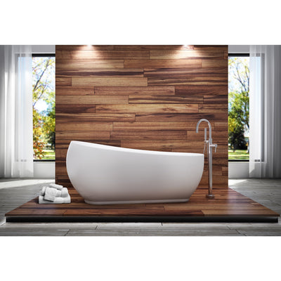 "A & E Bath and Shower Oslo Acrylic 71"" All-in-One Oval Freestanding Tub Kit Freestanding Clawfoot Bathtubs Tub Front View in Bathroom"