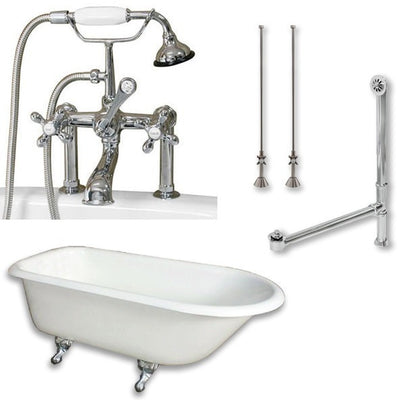 "Cambridge Plumbing Cast-Iron Rolled Rim Clawfoot Tub 55"" by 30"" with 7"" Deck Mount Faucet Drillings And Faucet Complete Plumbing Package - Affordable Cheap Freestanding Clawfoot Bathtubs Tub"