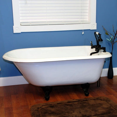 "Cambridge Plumbing Cast-Iron Rolled Rim Clawfoot Tub 55"" X 30"" - Affordable Cheap Freestanding Clawfoot Bathtubs Tub"