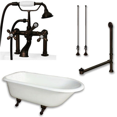 "Cambridge Plumbing Cast-Iron Rolled Rim Clawfoot Tub 61"" by 30"" with 7"" Deck Mount Faucet Drillings and Faucet Plumbing Package With Deck Mount Risers - Affordable Cheap Freestanding Clawfoot Bathtubs Tub"