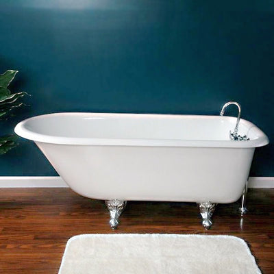 "Cambridge Plumbing Cast-Iron Rolled Rim Clawfoot Tub 61"" X 30"" - Affordable Cheap Freestanding Clawfoot Bathtubs Tub"