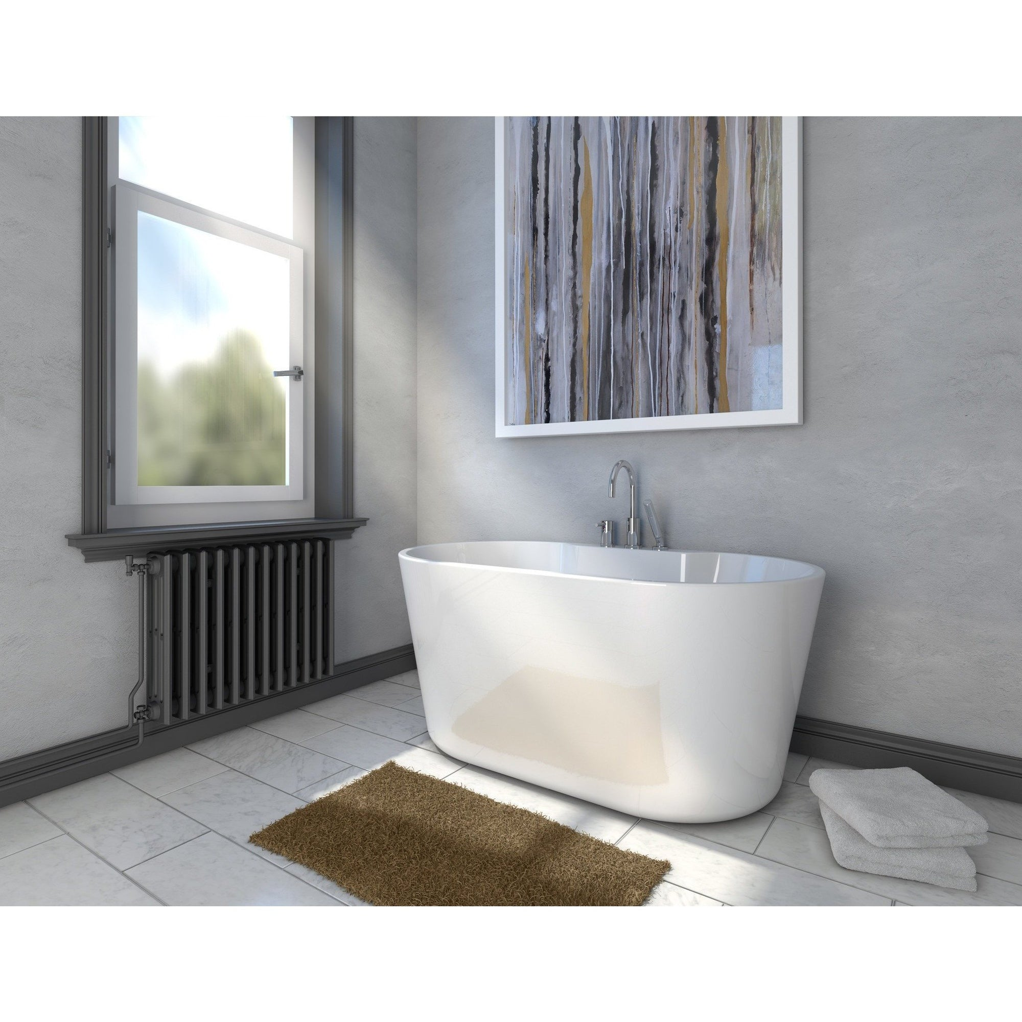 A E Bath And Shower Retro Acrylic Small 56 Premium All In One Freestanding Oval Tub Package