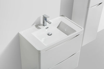 "Moreno Bath Smile 36"" Wall Mounted Vanity with Reinforced Acrylic Sink"