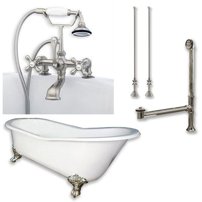 "Cambridge Plumbing Cast Iron Slipper Clawfoot Tub 61"" X 30"" with 7"" Deck Mount Faucet Drillings and Complete Plumbing Package - Affordable Cheap Freestanding Clawfoot Bathtubs Tub"