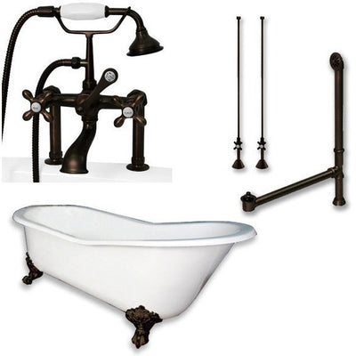"Cambridge Plumbing Cast Iron Slipper Clawfoot Tub 61"" X 30"" with 7"" Deck Mount Faucet Drillings and Faucet Complete Plumbing Package Deck Mount Risers - Affordable Cheap Freestanding Clawfoot Bathtubs Tub"