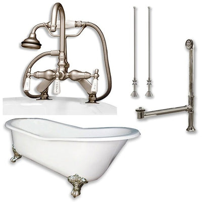 "Cambridge Plumbing Cast Iron Slipper Clawfoot Tub 61"" X 30"" with 7"" Faucet Drillings and English Telephone Style Faucet Complete Plumbing Package - Affordable Cheap Freestanding Clawfoot Bathtubs Tub"