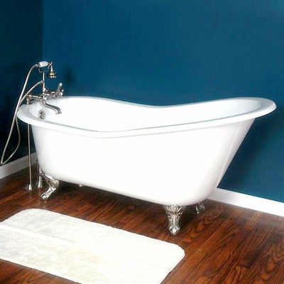 "Cambridge Plumbing Cast Iron Slipper Clawfoot Tub 61"" X 30"" - Affordable Cheap Freestanding Clawfoot Bathtubs Tub"