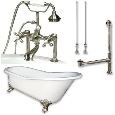 "Cambridge Plumbing Cast Iron Slipper Clawfoot Tub 67"" by 30"" with 7"" Deck Mount Faucet Drillings and Faucet Great Plumbing Package Deck Mount Risers - Affordable Cheap Freestanding Clawfoot Bathtubs Tub"