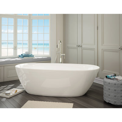 "A & E Bath and Shower Sequin Acrylic 71"" All-in-One Oval Freestanding Tub Kit Freestanding Clawfoot Bathtubs Front View in Bathroom"