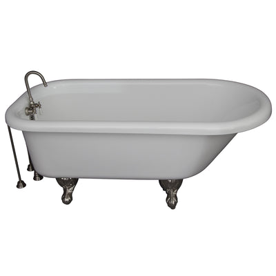 Barclay Products Anthea 60″ Acrylic Roll Top Tub Kit in White – Brushed Nickel Accessories - Affordable Cheap Freestanding Clawfoot Bathtubs Tub