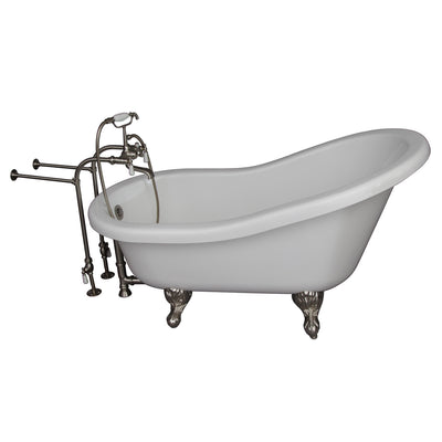 Barclay Products Fillmore 60″ Acrylic Slipper Tub Kit in White – Brushed Nickel Accessories - Affordable Cheap Freestanding Clawfoot Bathtubs Tub