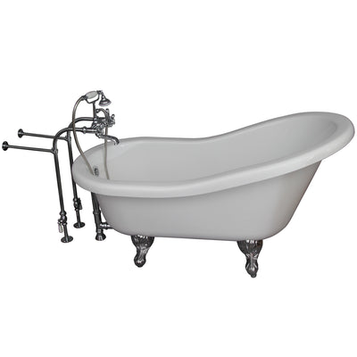 Barclay Products Fillmore 60″ Acrylic Slipper Tub Kit in White – Polished Chrome Accessories - Affordable Cheap Freestanding Clawfoot Bathtubs Tub