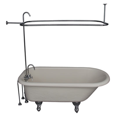 Barclay Products Andover 60″ Acrylic Roll Top Tub Kit in Bisque – Polished Chrome Accessories TKATR60-BCP1 - Affordable Cheap Freestanding Clawfoot Bathtubs Tub