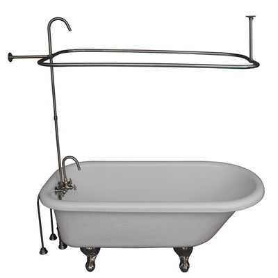 Barclay Products Andover 60″ Acrylic Roll Top Tub Kit in White – Brushed Nickel Accessories - Affordable Cheap Freestanding Clawfoot Bathtubs Tub