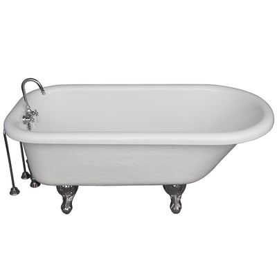 Barclay Products Andover 60″ Acrylic Roll Top Tub Kit in White – Polished Chrome Accessories TKATR60-WCP9 - Affordable Cheap Freestanding Clawfoot Bathtubs Tub