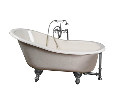 Barclay Products Estelle 60″ Acrylic Slipper Tub Kit in Bisque – Polished Chrome Accessories - Affordable Cheap Freestanding Clawfoot Bathtubs Tub
