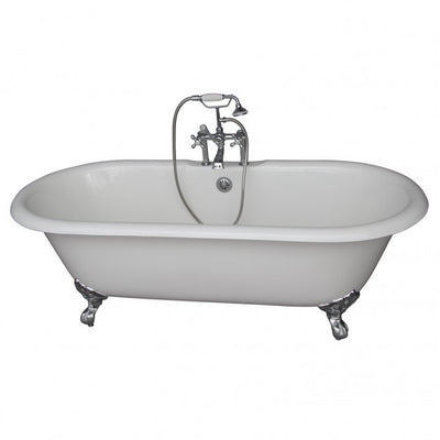 Barclay Duet 67″ Cast Iron Double Roll Top Clawfoot Tub Kit Brushed Nickel in White Background