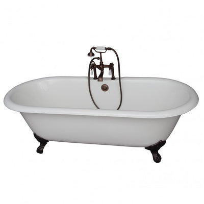 Barclay Duet 67″ Cast Iron Double Roll Top Clawfoot Tub Kit Oil Rubbed Bronze in White Background