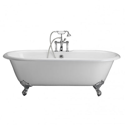 Barclay Columbus 61″ Cast Iron Double Roll Top Clawfoot Tub Kit Polished Chrome in White Background