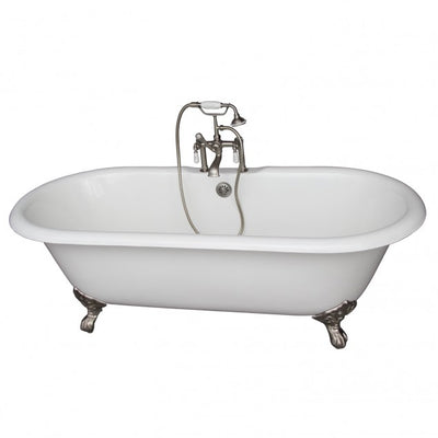Barclay Columbus 61″ Cast Iron Double Roll Top Clawfoot Tub Kit Brushed Nickel in White Background