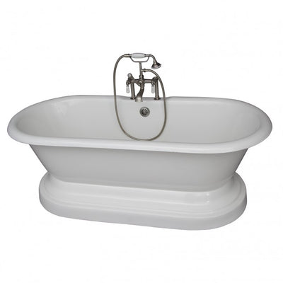 Barclay Columbus 61″ Cast Iron Double Roll Top Tub Kit Satin Nickel in White Background