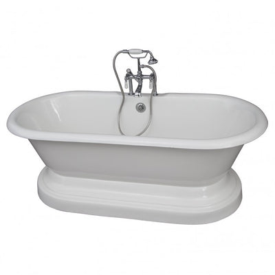 Barclay Duet 67″ Cast Iron Double Roll Top Tub Kit Brushed Nickel in White Background