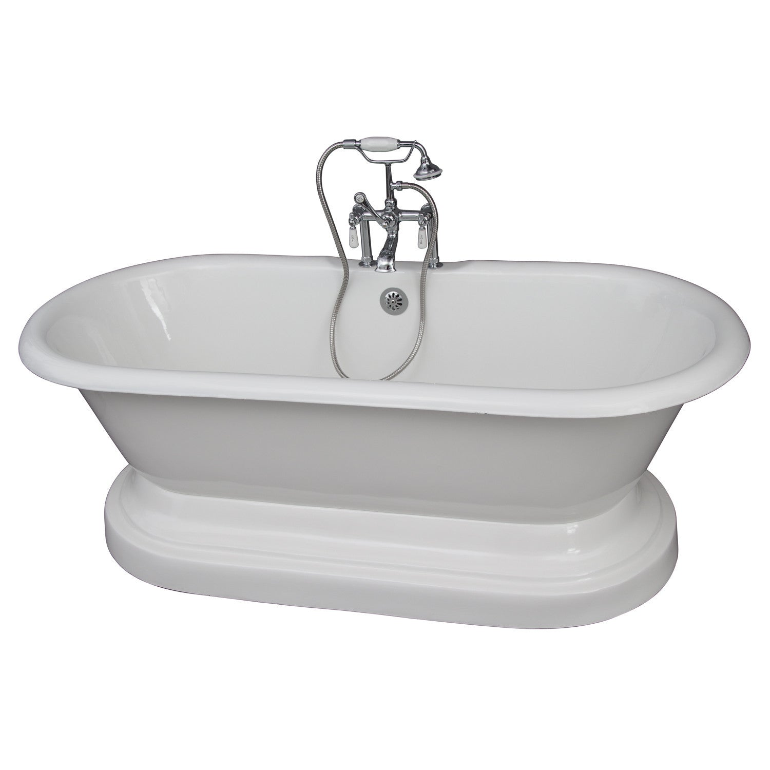 Barclay TKCTDRHB-CP1 Duet 67″ Cast Iron Double Roll Top Tub Kit with ...