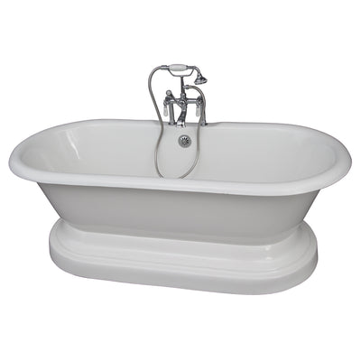 Barclay Products Duet 67″ Cast Iron Double Roll Top Tub Kit – Polished Chrome Accessories - Affordable Cheap Freestanding Clawfoot Bathtubs Tub
