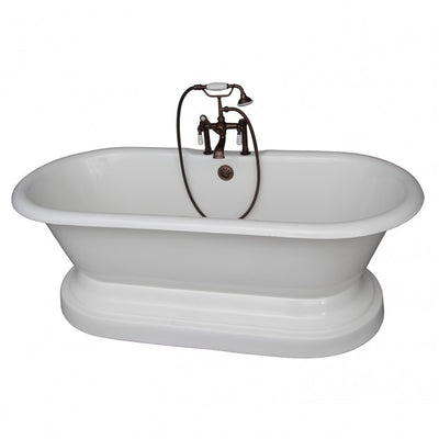 Barclay Duet 67″ Cast Iron Double Roll Top Tub Kit Oil Rubbed Bronze in White Background