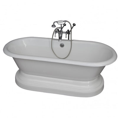 Barclay Columbus 61″ Cast Iron Double Roll Top Tub Kit Polished Chrome in White Background