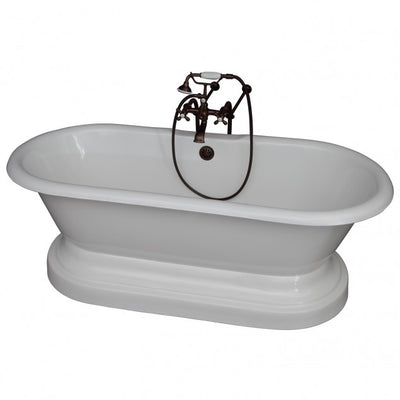 Barclay Columbus 61″ Cast Iron Double Roll Top Tub Kit Oil Rubbed Bronze in White Background