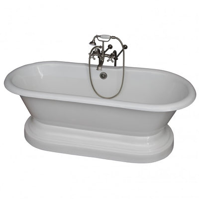 Barclay Columbus 61″ Cast Iron Double Roll Top Tub Kit Brushed Nickel in White Background