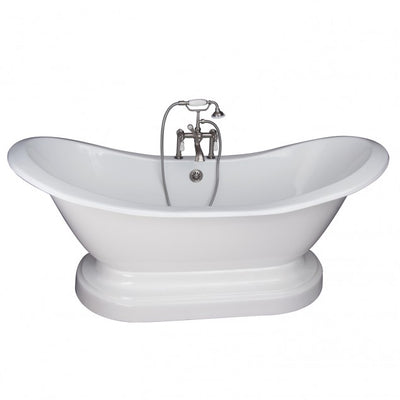 Barclay Marshall 71″ Cast Iron Double Slipper Tub Kit Polished Chrome in White Background